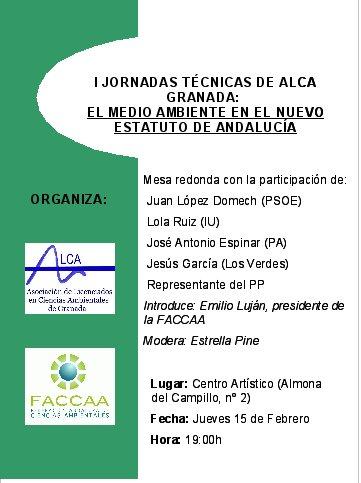 I JORNADAS TÉCNICAS DE ALCA: EL MEDIO AMBIENTE EN EL ESTATUTO DE ANDALUCIA